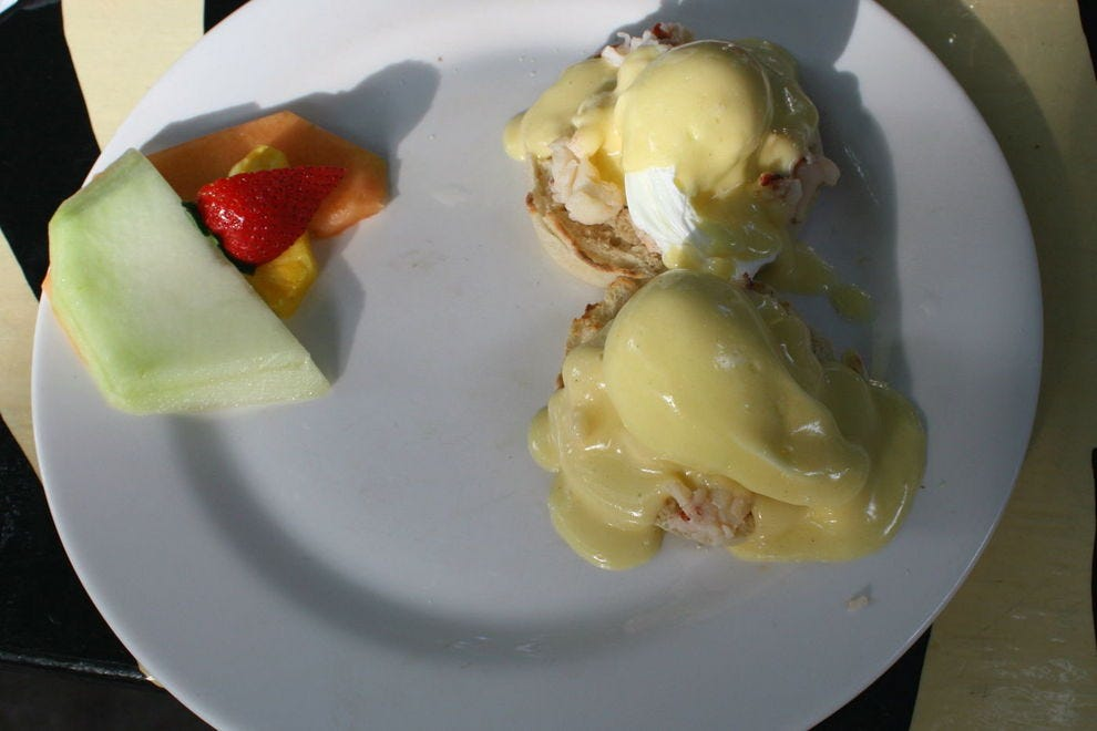 Key lime hollandaise perfects Blue Heaven's lobster Benedict