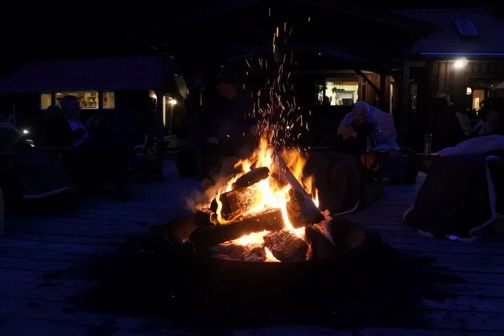 A roaring fire at Nimmo Bay Lodge, British Columbia