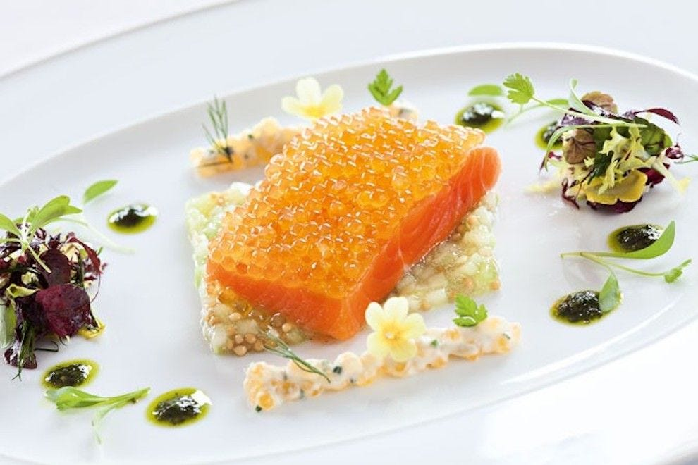 Locally-caught salmon embellished with herbs, flowers and seeds at Schwarzwaldstube