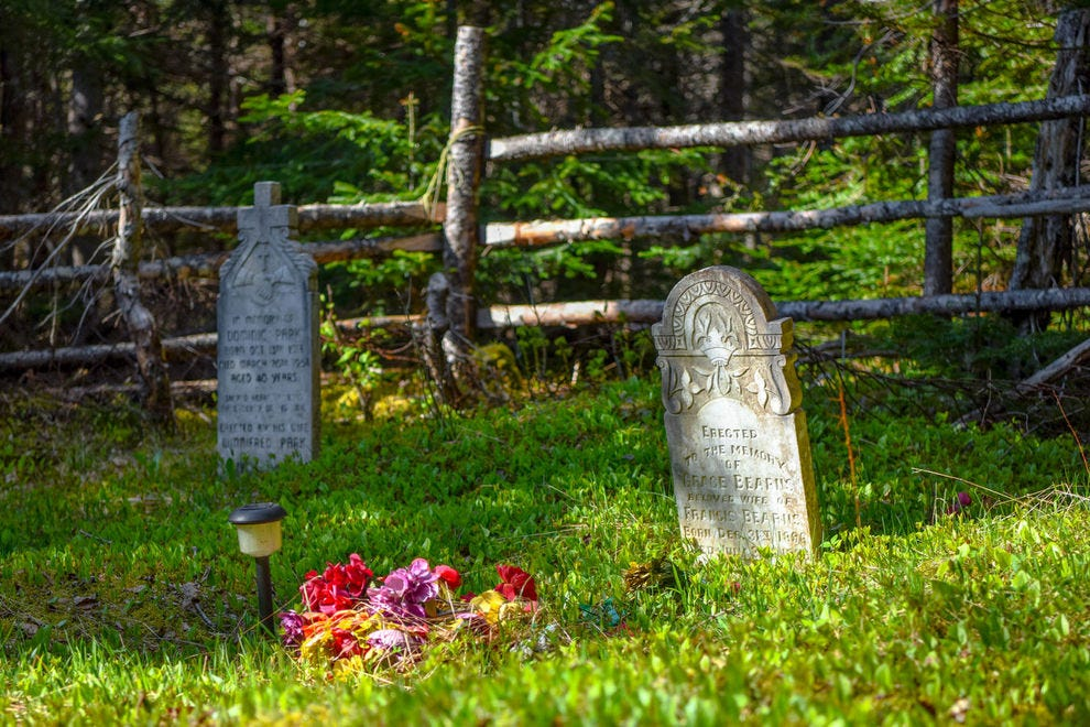 The Brake's Cove cemetery sits atop a hill behind the former town
