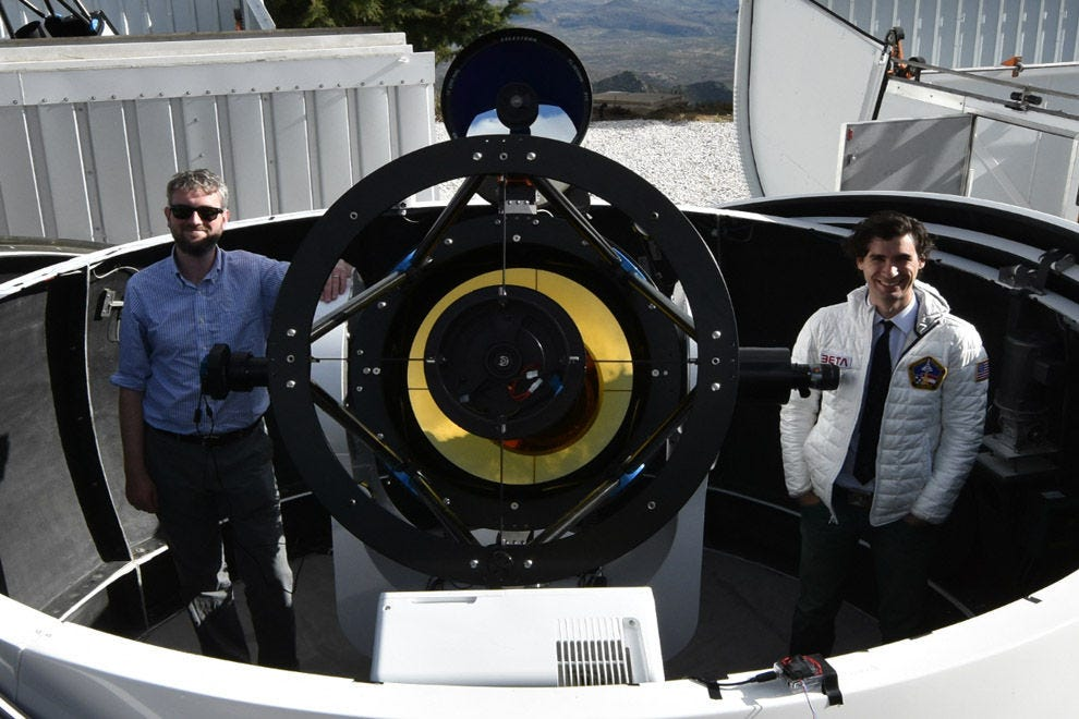 Professor. Cullen Blake and David Sliski in southern Arizona at the dedication of their new telescope MINERVA-Red, a telescope dedicated to the discovery of planets orbiting the nearest low mass stars!