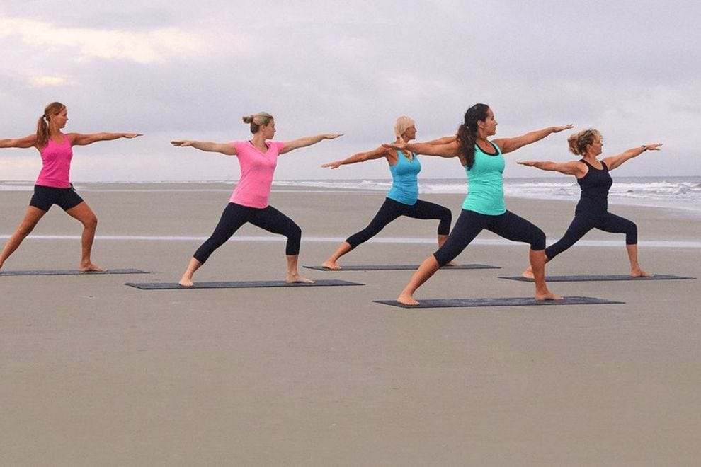You can do yoga anywhere, even on the beach