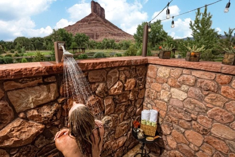 Outdoor shower in the Casita bathroom, apt for early morning or evening hours