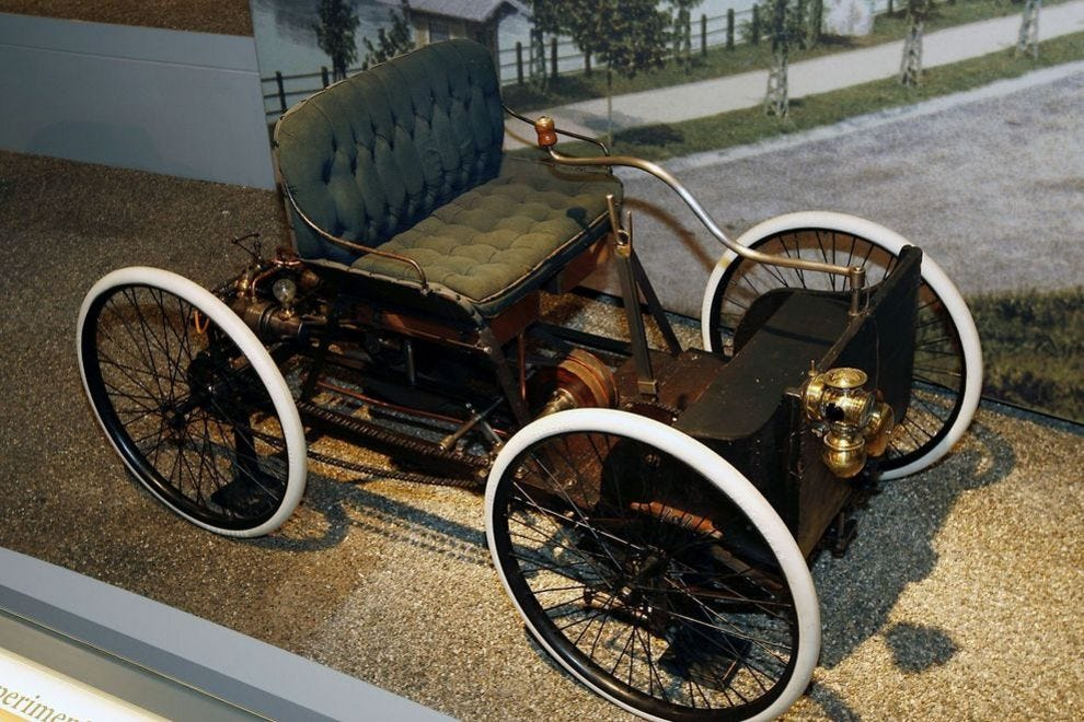 An 1896 Quadricycle, the first car Henry Ford made