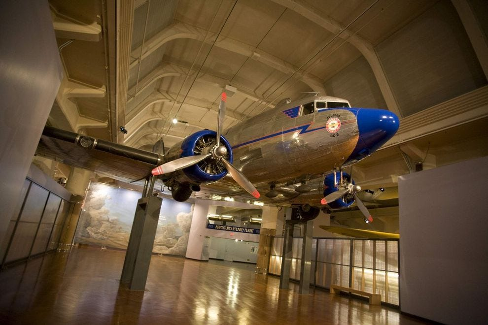 The Douglas DC-3 has a prominent place in the museum's <i>Heroes of the Sky</i> exhibit