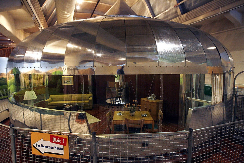 The outside of the Dymaxion House gives a peek inside, too
