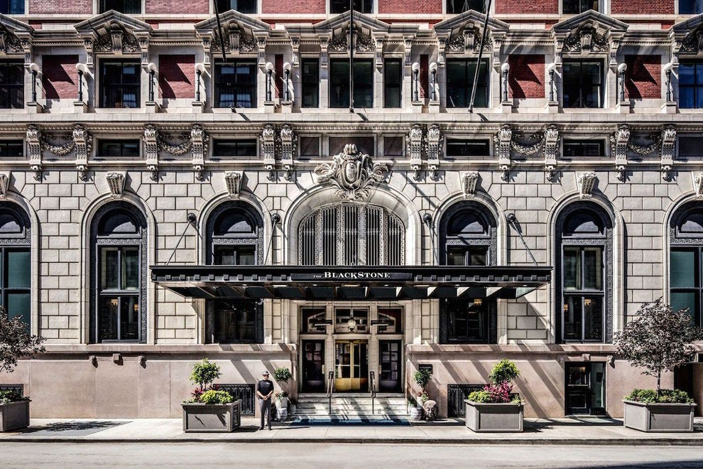 The beautiful entrance to The Blackstone Hotel