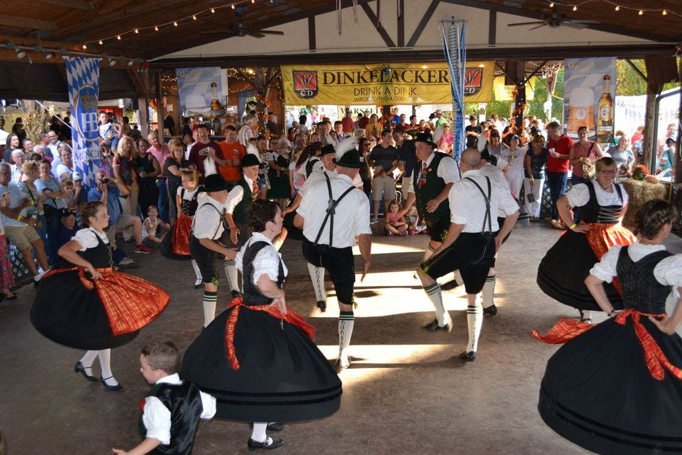Traditional German food and beer are on tap at this Oktoberfest celebration