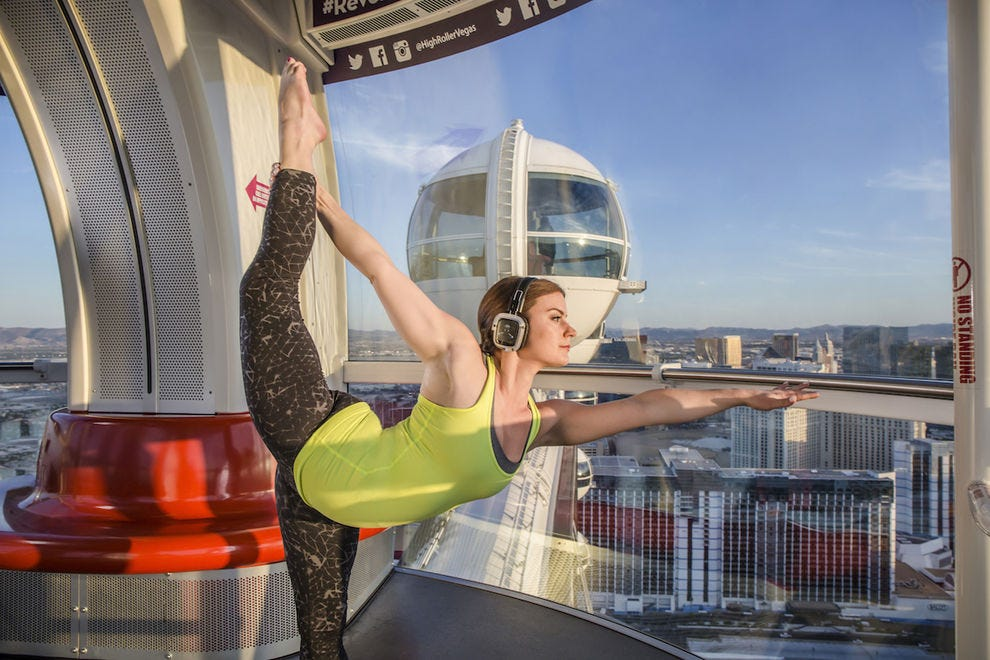 Yoga class on the LINQ Promenade's High Roller