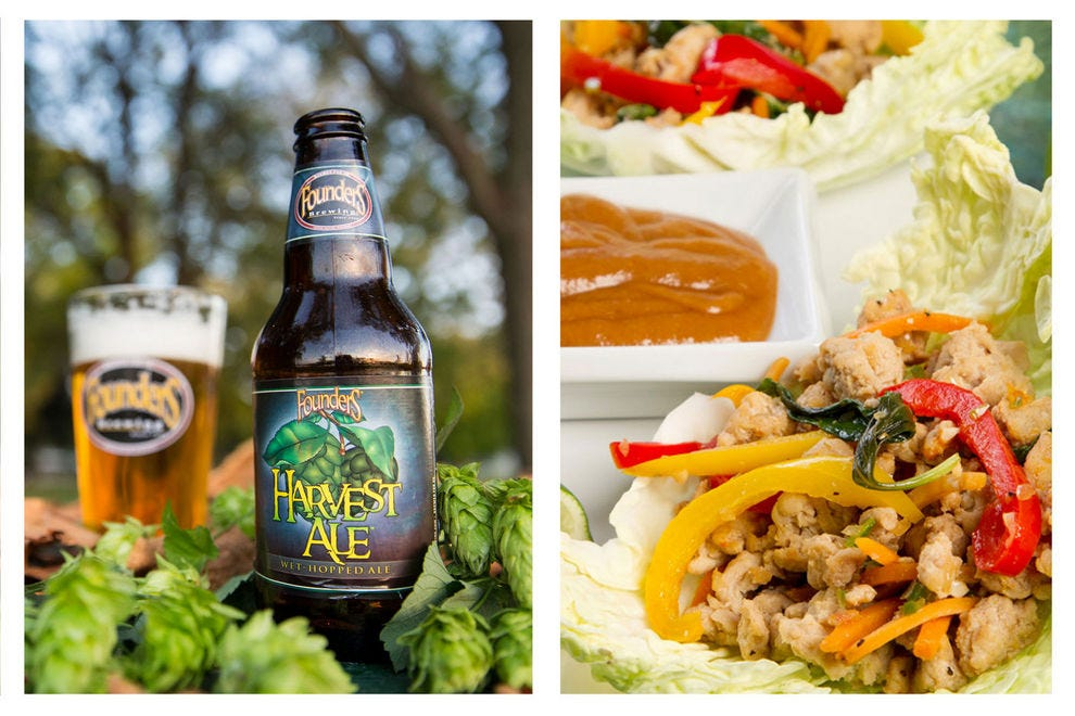 The bright citrus flavors of Harvest Ale match well with these light Thai-inspired lettuce wraps