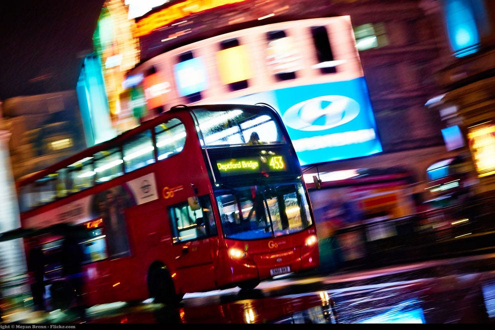 Night bus in London