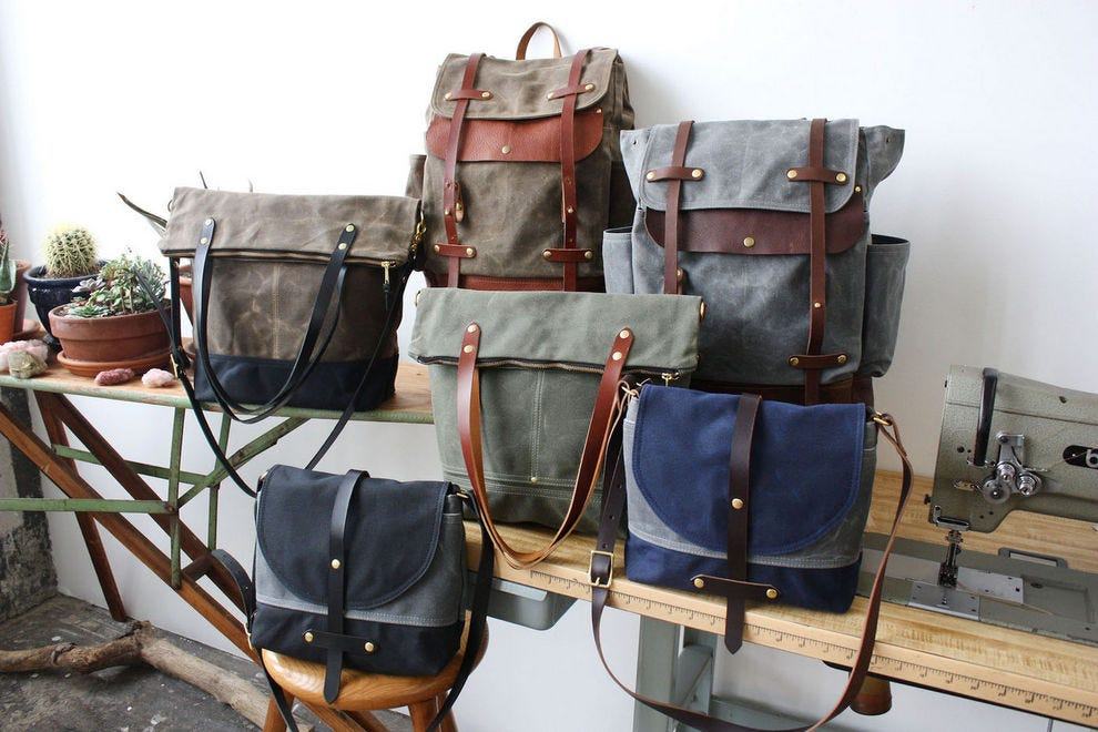 Lyonhart leather and waxed canvas bags