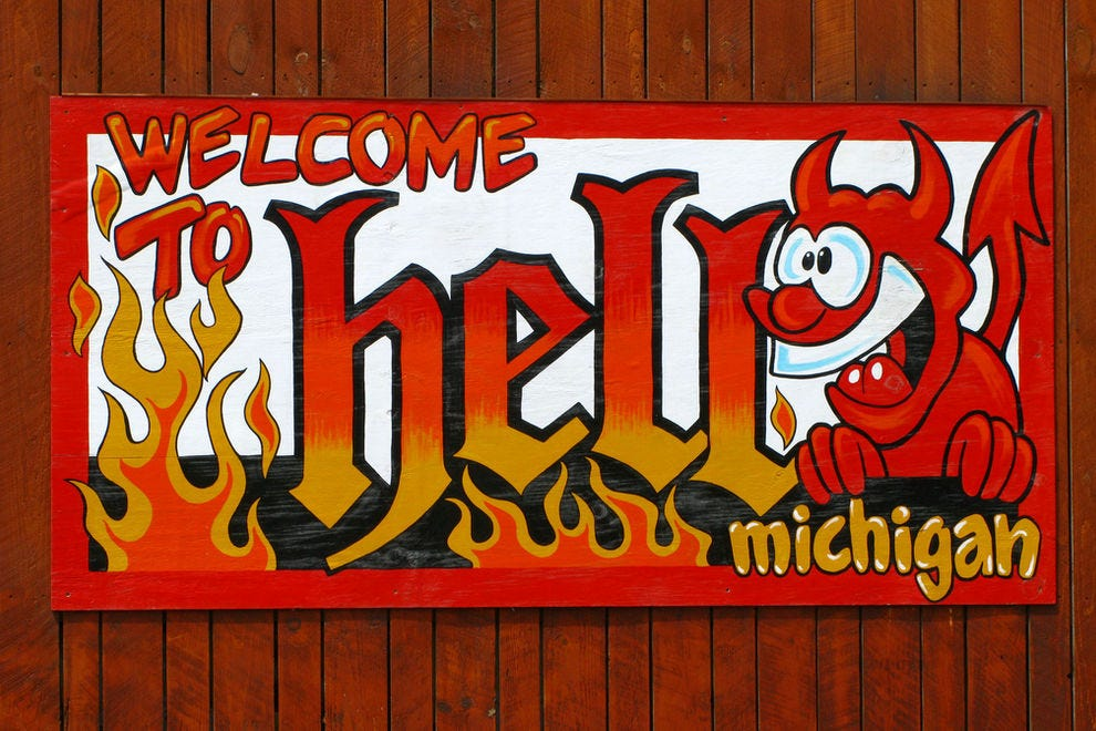 A sign welcomes visitors to Hell, Mich.