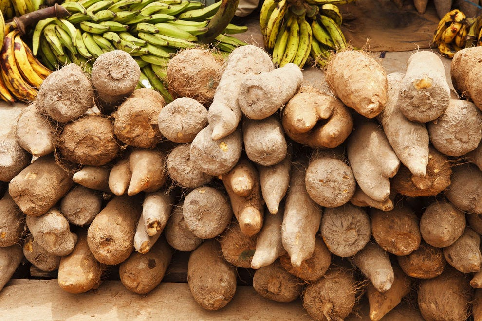 Yams at an outdoor market in Ghana