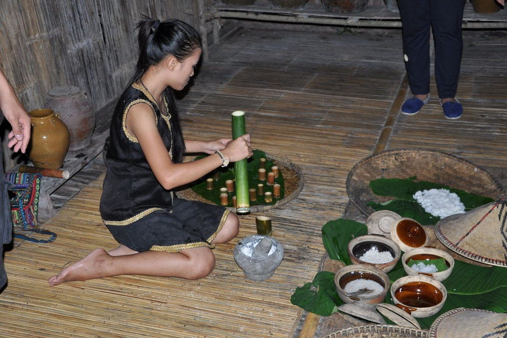 A girl makes rice wine