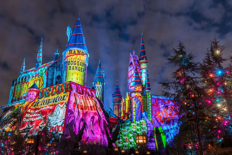 Magical – almost literally. Potter fans will lose their minds over the holiday spectacle at Hogwarts Castle