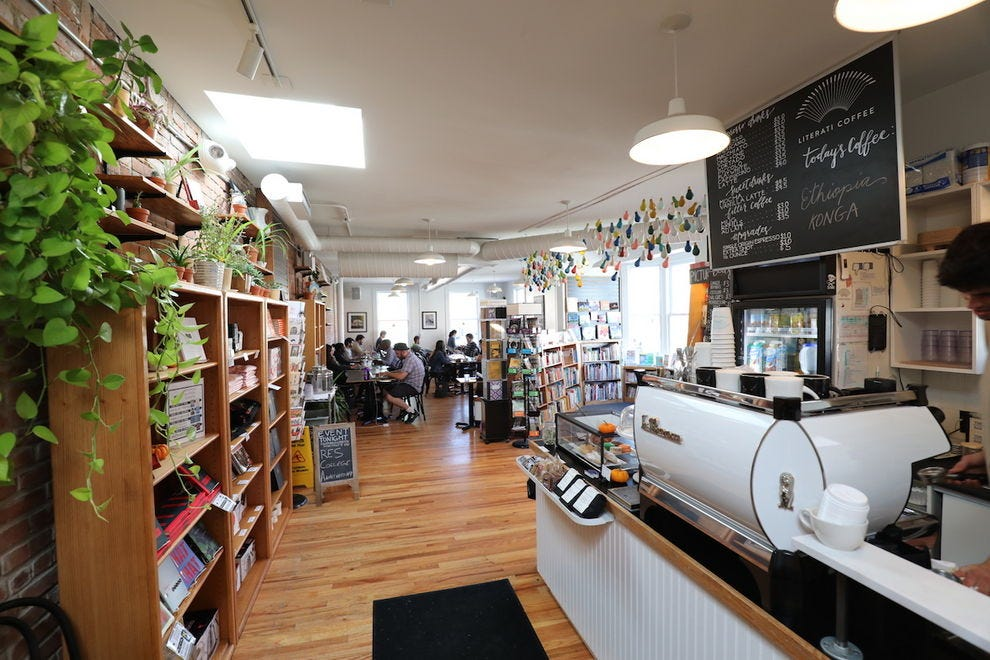 The second floor coffee bar and event center at Literati Bookstore