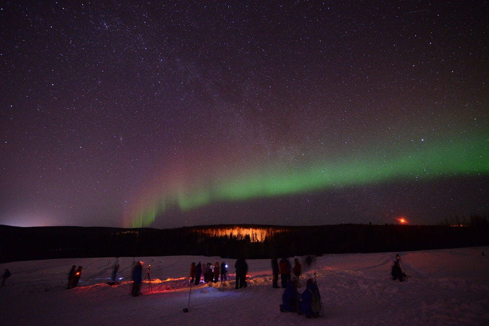 Fairbanks, Alaska has frequent aurora with displays seen 250 nights a year.