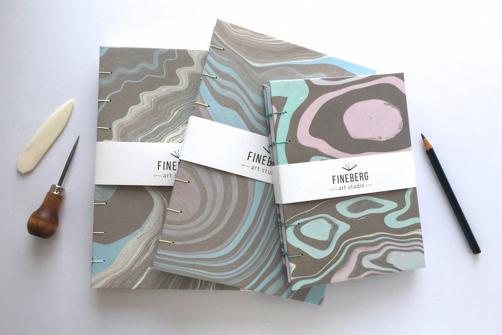 Hand-marbled journal from Fineberg Art Studio