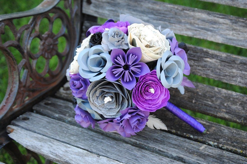 Bridal bouquet of paper flowers by Tree Town Paper