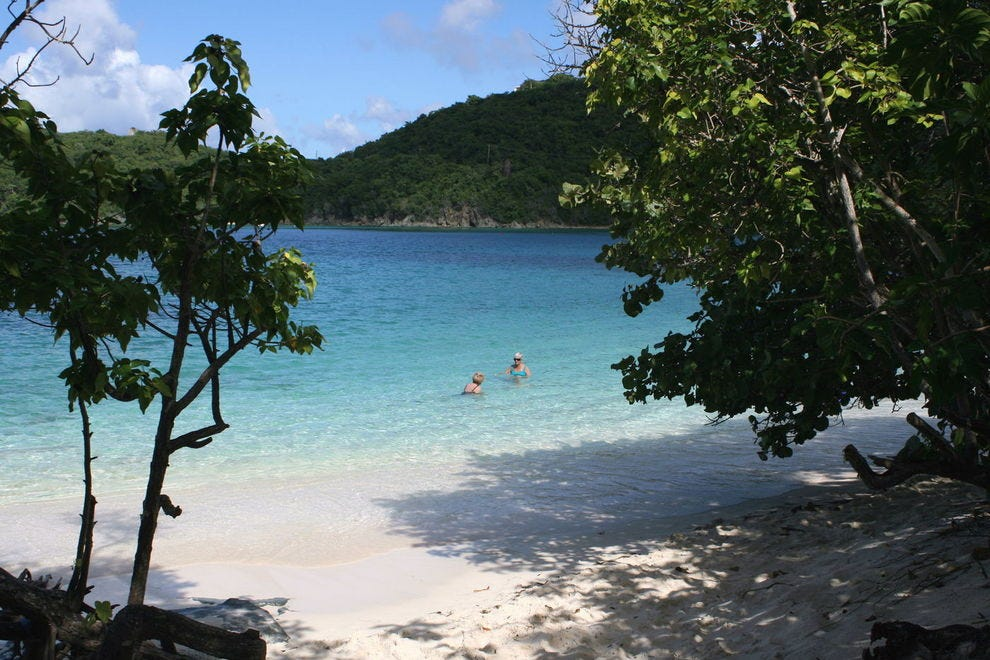St. John's famed beaches lie minutes from Cruz Bay