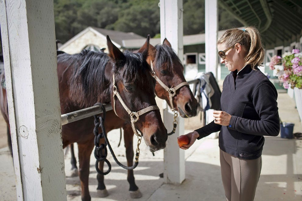Guests love to feed the horses before taking a trail ride at Stonepine Estate