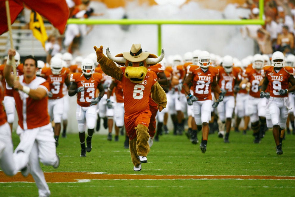 The Texas Longhorns take the field during football season