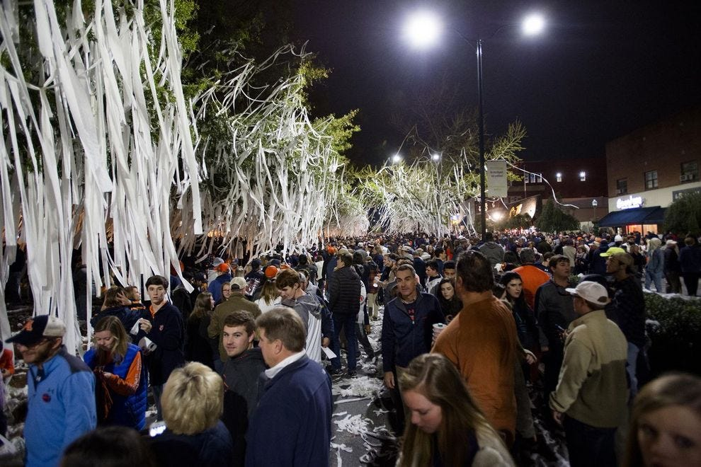 Toomer's Corner gets covered in toilet paper after an Auburn Tigers win