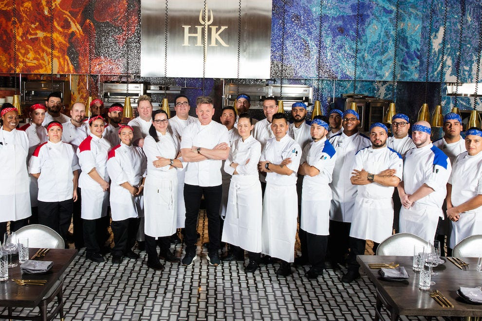 Chef Gordon Ramsay and the staff of the first Hell's Kitchen Restaurant