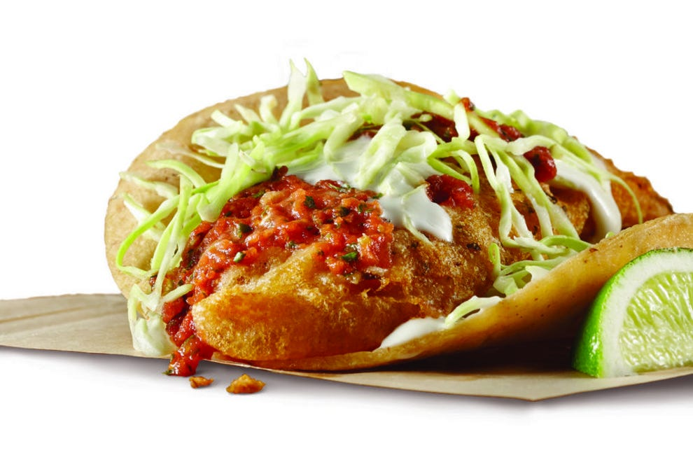 Beer-battered fish taco from Rubio's Coastal Grill