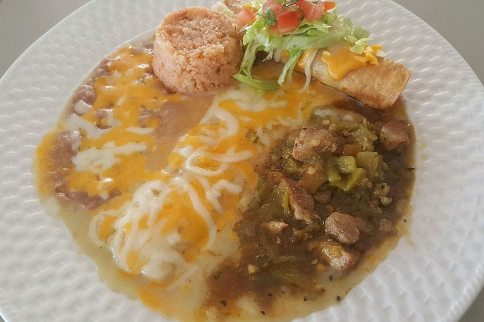 Green chile enchiladas from El Patrón Café