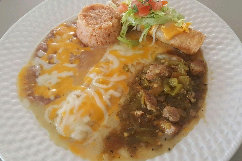 Green chile enchiladas from El Patrón Café