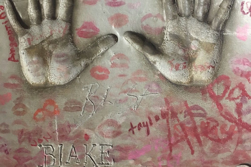 Blake Shelton's handprints on the Wall of Fame at Billy Bob's Texas