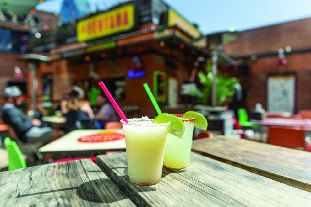 La Ventana adds an orange juice float on top of its house margarita for an extra layer of flavor