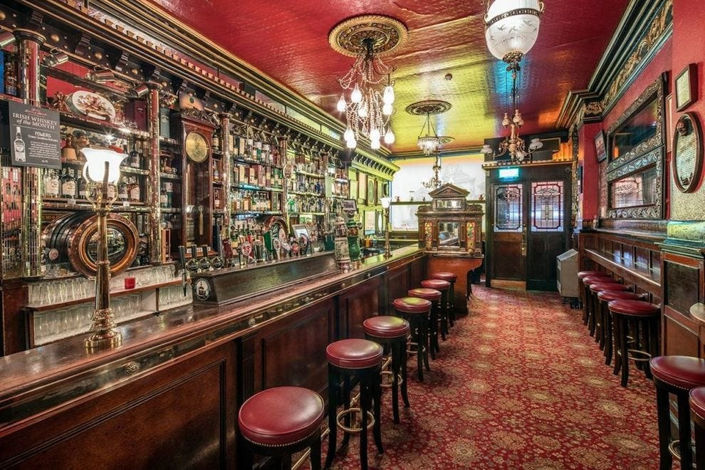 Pints flow freely at The Long Hall, one of the oldest pubs in Dublin