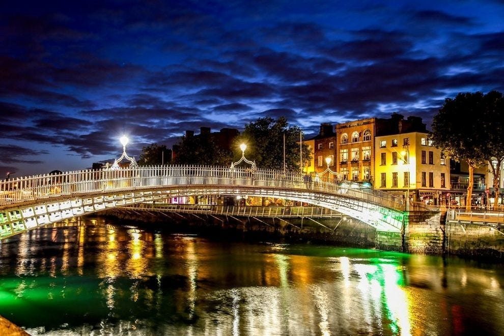 The Ha'penny Bridge by night is a welcomed Dublin sight