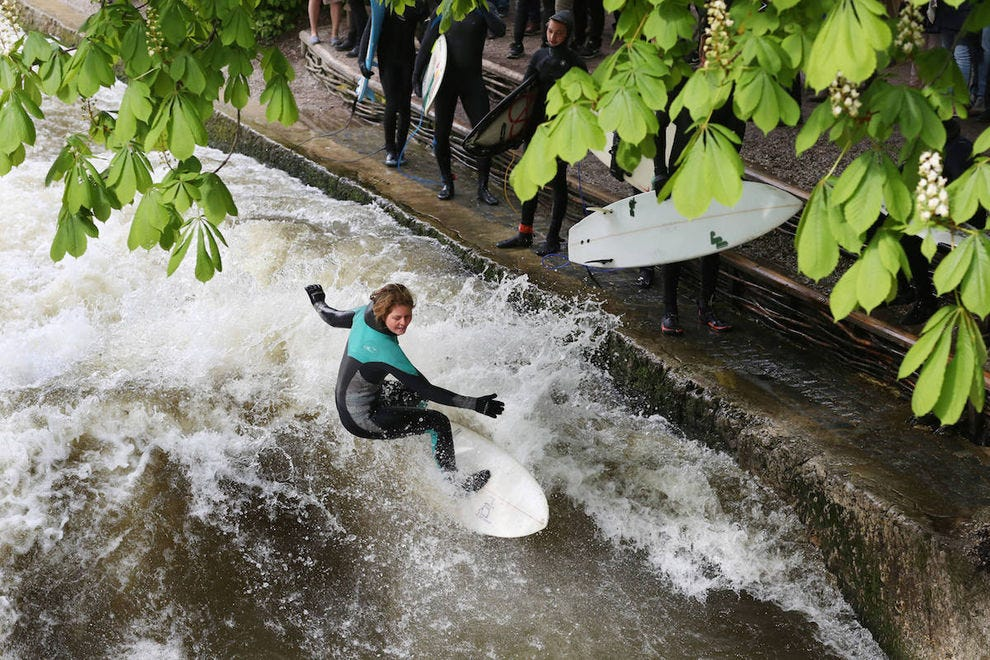 Yes, Munich is a great spot for surfers!  River surfers, that is
