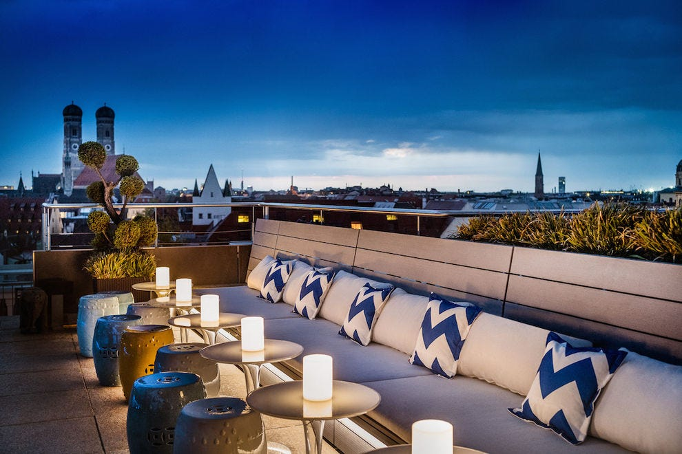 The rooftop at Mandarin Oriental Munich offers breathtaking views of the city