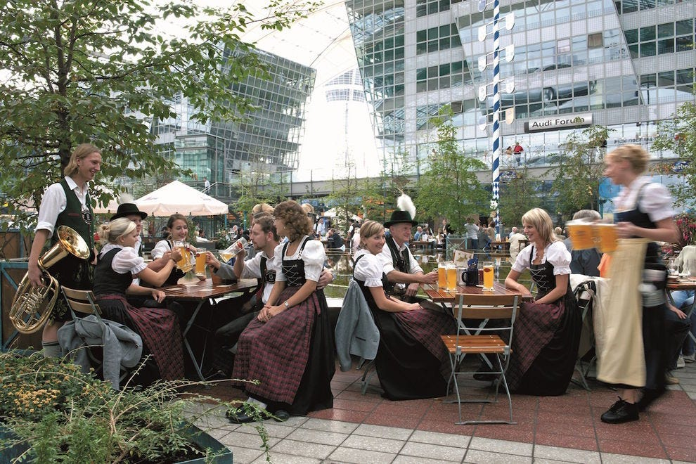 Munich Airport features a beer garden and the only airport brewery in the world
