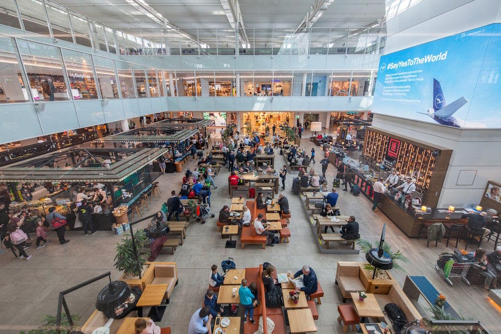 Get a taste of Bavaria at the central marketplace in the satellite terminal