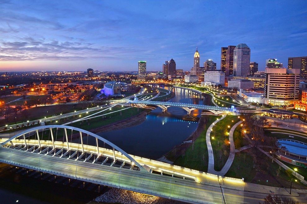 A beautiful view of Columbus at night