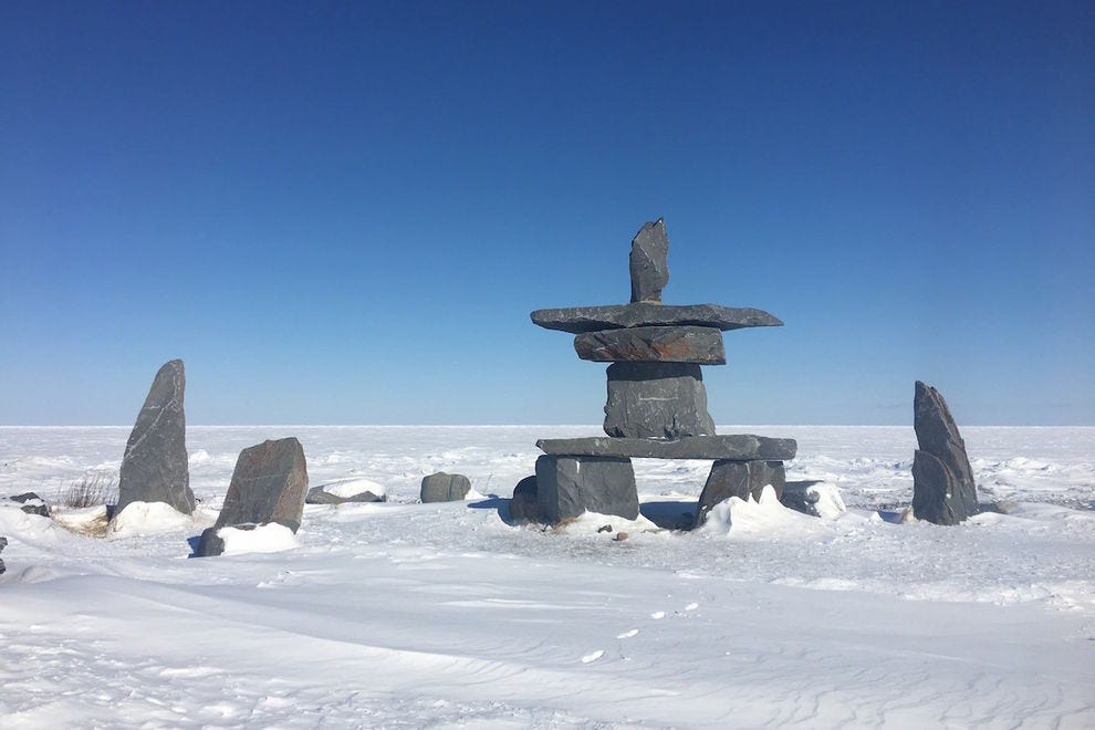 The Inuksuit on Harbor Bay were created by native peoples as natural landmarks