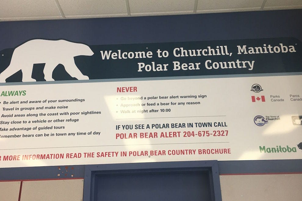 The sign at the Churchill Airport welcomes you to polar bear country