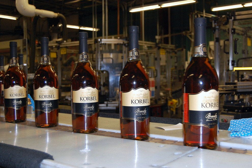 Korbel makes their brandy from California grapes