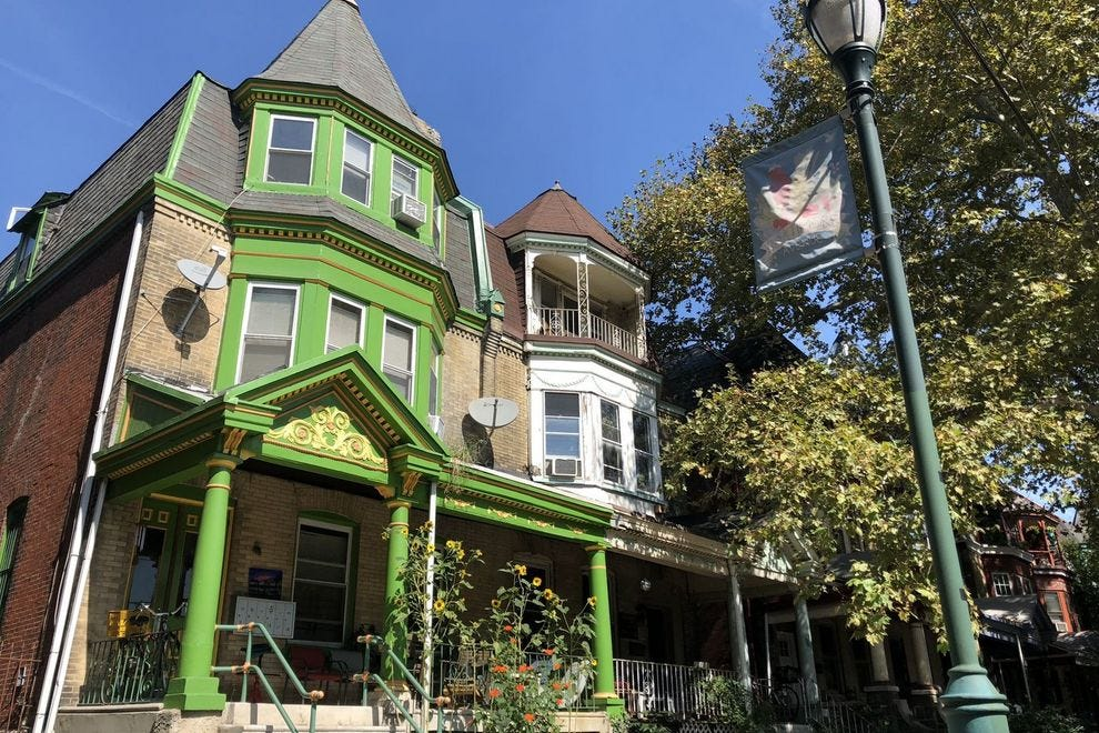 Colorful Victorian mansions line Baltimore Avenue