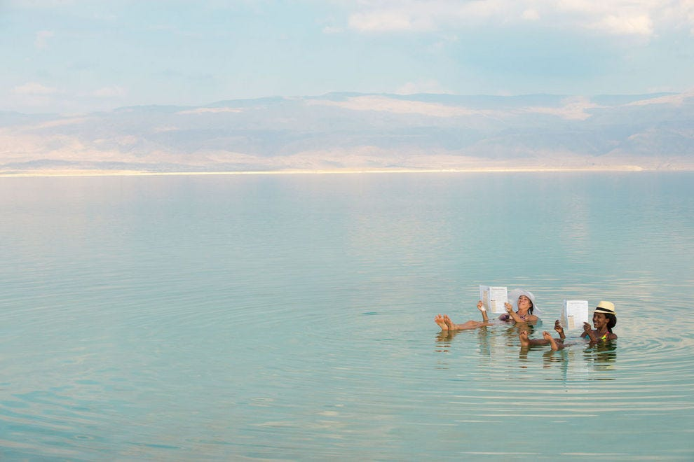 High salinity allows one to float easily in the Dead Sea