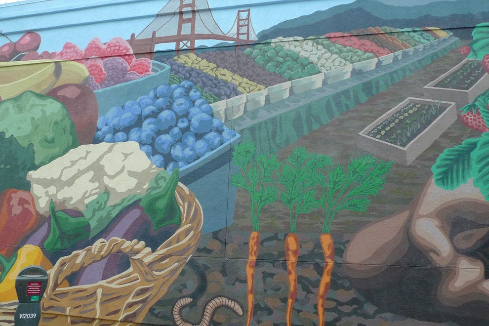 This mural honors Berkeley's legendary Gourmet Ghetto