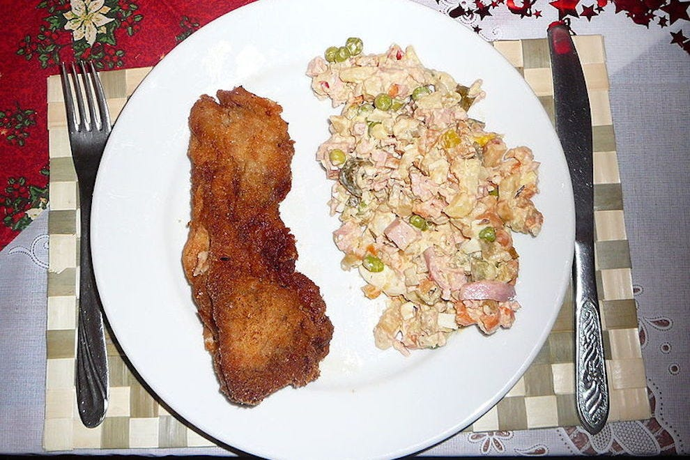 Carp and potato salad, the main meal