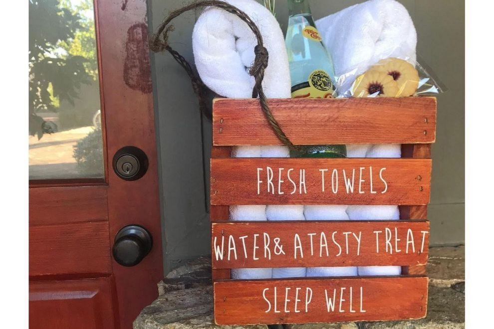 At Sparrows Lodge, this rustic crate is filled with goodies every night