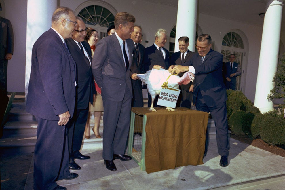 JFK pardoning a turkey from the National Turkey Federation